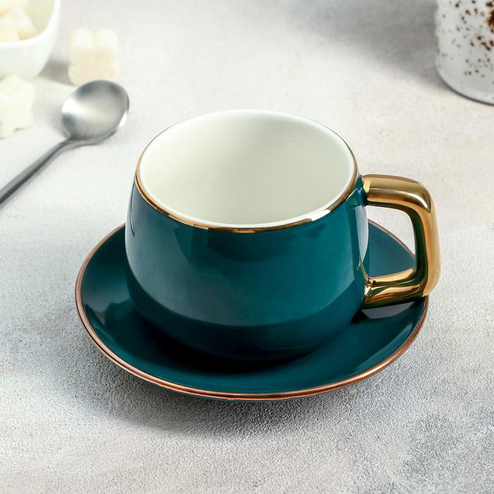 Чайная пара «Изумруд», чашка 200 мл, блюдце 13,5 см - фото 711594
