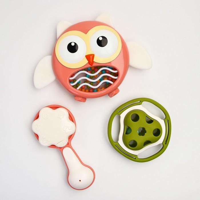Набор погремушек «Маленькая Сова», 3 предмета, цвет МИКС - фото 105530768