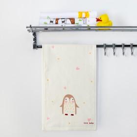 """Полотенце двухстороннее Крошка Я  """"Пингвинчик"""" цв.серый 25 х 50 см, 100% хлопок"""