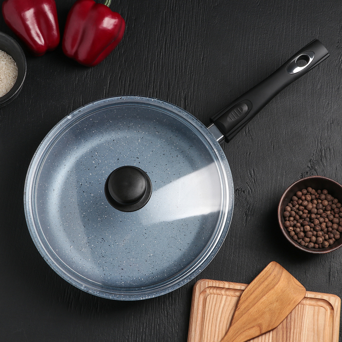 Сковородка «Северное сияние», 26×7 см, с съёмной ручкой и стеклянной крышкой