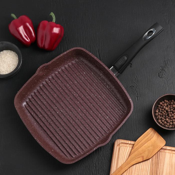 Сковородка гриль «Шоколад», 28×28, съёмная ручка