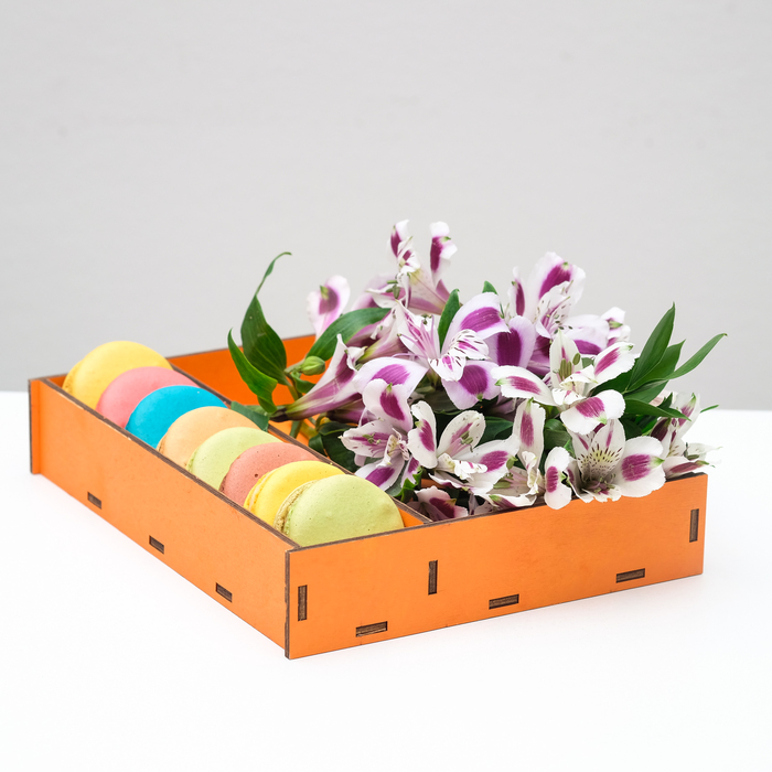 Ящик-коробка «Макарунас», оранжевый, 25,5 х 20 х 4,5 см - фото 833103