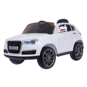 Электромобиль «Кроссовер», 2 мотора, EVA, кожаное сидение, цвет белый, уценка (царапины на дверных ручках, трещина на лобовом стекле)