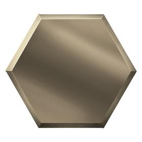 Зеркальная бронзовая матовая плитка «Сота» с фацетом 10 мм, 300х259 мм