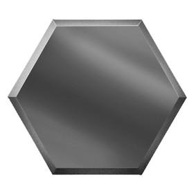 Зеркальная графитовая матовая плитка «Сота» с фацетом 10 мм, 300х259 мм