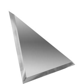 Треугольная зеркальная серебряная матовая плитка с фацетом 10 мм, 180х180 мм Ош