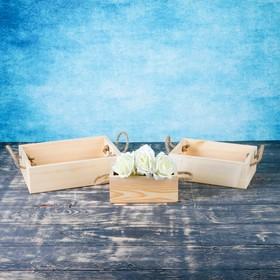 """Кашпо деревянное 20×11×8.5 см Элегант """"Классик"""", 3 в 1, ручка верёвка Дарим Красиво"""