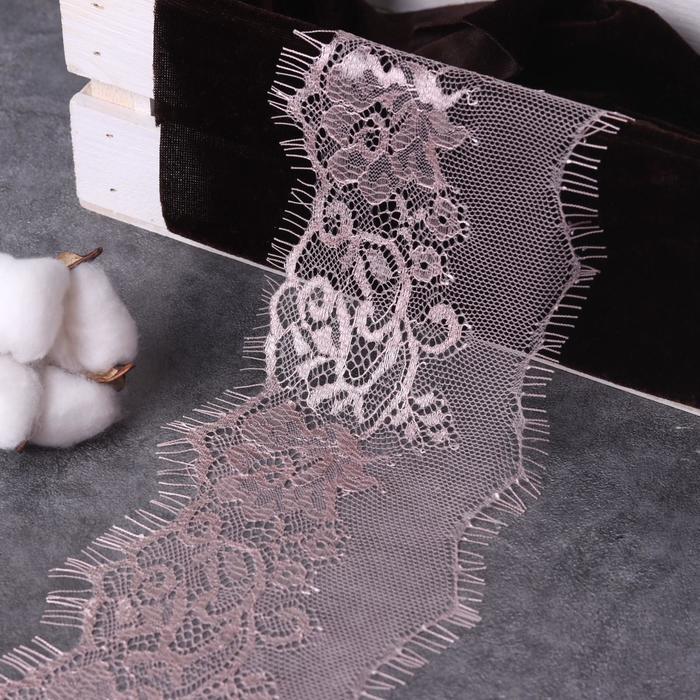 Кружево реснички, 110 мм × 9 ± 1 м, в бобине 3 шт по 3 м, цвет пудровый