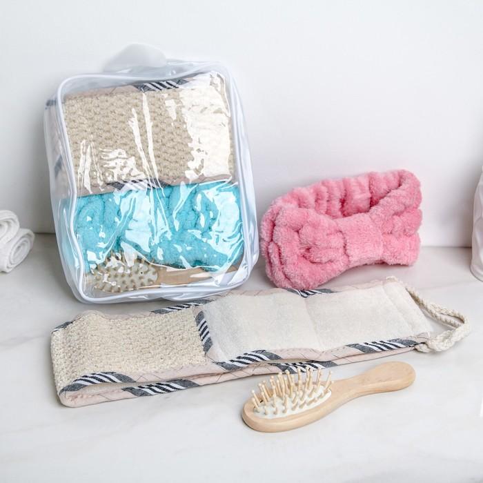 Набор банный в сумке, 3 предмета: мочалка, расчёска, повязка на голову, цвет МИКС