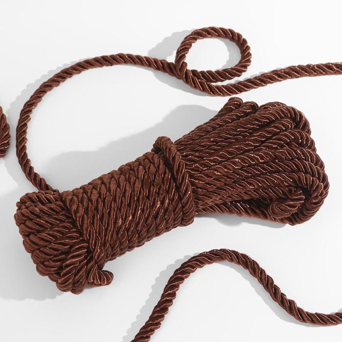 Шнур витой, d = 8 мм, 10 ± 1 м, цвет коричневый