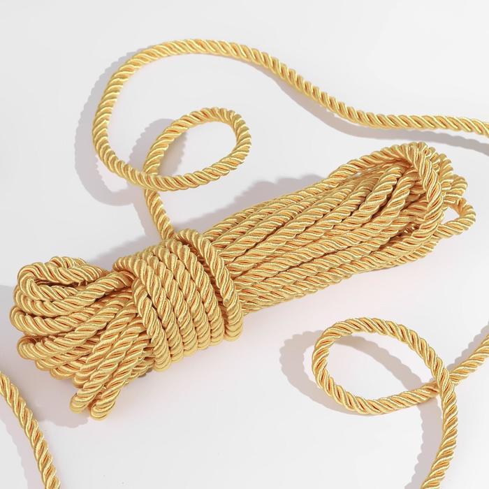 Шнур витой, d = 8 мм, 10 ± 1 м, цвет золотой