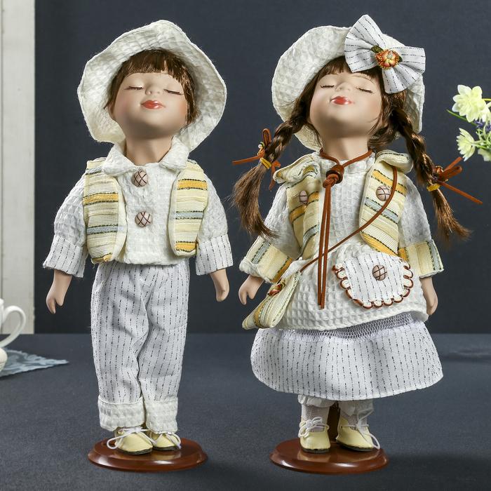 """Кукла коллекционная """"Поцелуй пары в белом наряде"""" в наборе 2 шт"""