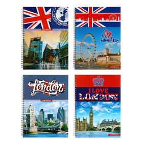 Тетрадь (скетчбук) А4, 100 листов на гребне Great Britain, твёрдая обложка, матовая ламинация, выборочный лак, МИКС