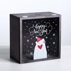 Коробка с оргстеклом «Новогодний мишка», 20 × 20 × 10 см
