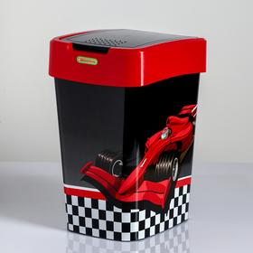 """Ведро для мусора 10 л """"Ралли"""", цвет тёмносерый/красный"""