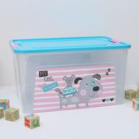 """Контейнер 27 л Smart Box с декором """"Pet Shop"""", цвет бирюзовый"""
