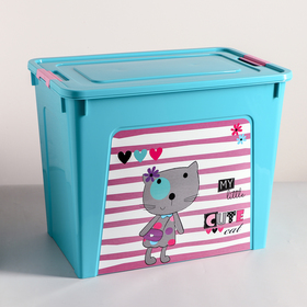"""Контейнер 40 л Smart Box с декором """"Pet Shop"""", цвет бирюзовый"""