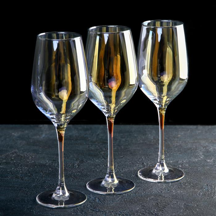 "Набор бокалов для вина 350 мл ""Селест"", 3 шт, цвет золотистый хамелеон"
