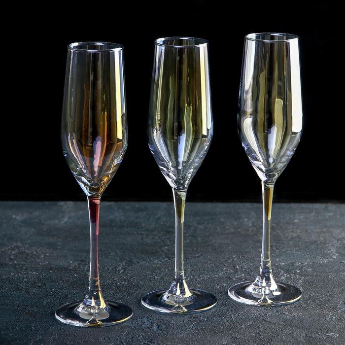 """Набор бокалов для шампанского 160 мл """"Селест"""", 3 шт, цвет золотистый хамелеон"""