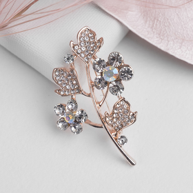 """Brooch """"the Apple Branch"""" flowers, white gold"""