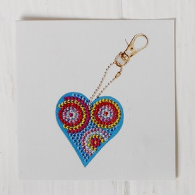 """Diamond embroidery keychain """"Heart patterned"""""""