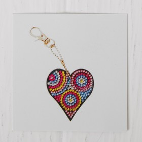 """Diamond embroidery keychain """"Heart with circles"""""""