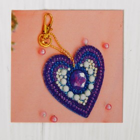 """Diamond embroidery keychain """"Heart with pearls"""""""
