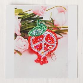 Алмазная вышивка-брелок «Гранат», заготовка: 7,5 × 5 см