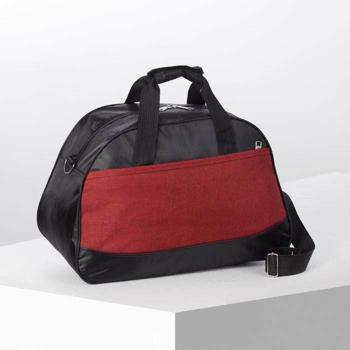 Сумка спортивная, отдел на молнии, наружный карман, длинный ремень, цвет чёрный/бордовый