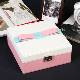 """Шкатулка кожзам для украшений """"Бант"""" розово-белая 9,5х22,5х22,5 см"""