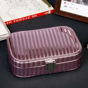 Box leatherette for jewelry Bands pink lacquer miniature 4,5h15h10 cm