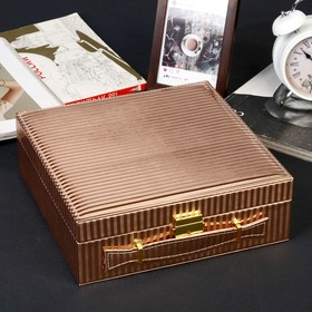 Box leatherette watch under 3 compartments and jewelry