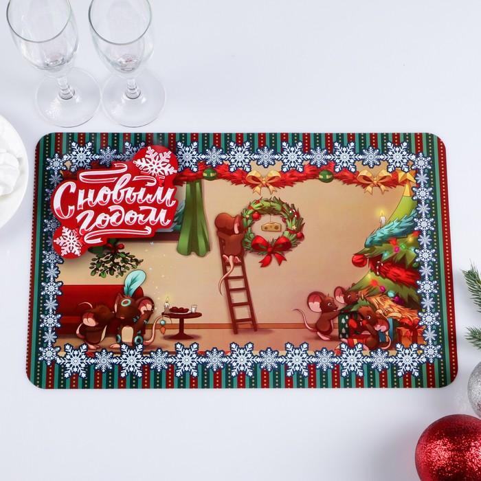 """Салфетка на стол """"С Новым Годом"""" символы года, новогодний венок, 40 х 25 см"""