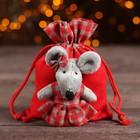 Мешок для подарков «Мышка», цвет красный