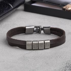 """Bracelet leather """"Mulan"""" 4 link, color brown silver"""