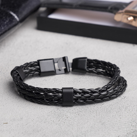 """Браслет мужской """"Власть"""" трио, цвет чёрный в чёрном металле, L=20,5 см"""