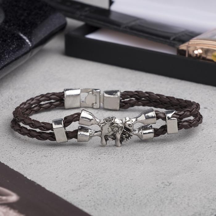 """Браслет мужской """"Денджер"""" слон, цвет коричневый в серебре, L=21,5 см"""
