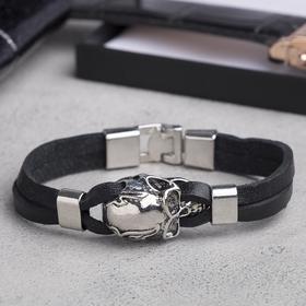 """Браслет мужской """"Яд"""", цвет чёрный в серебре, L=22 см"""