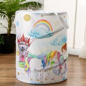 """Корзинка для игрушек """"Единорог и принцесса"""" 35×35×45 см"""