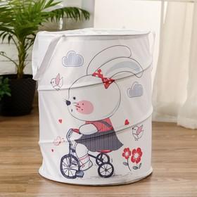 """Корзинка для игрушек """"Зайка на велосипеде""""35×35×45 см"""
