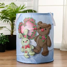 """Корзинка для игрушек """"Мишка и зайка"""" 35×35×45 см"""
