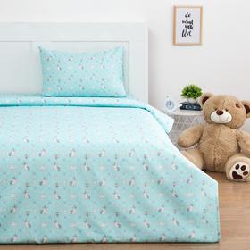 Детское постельное бельё Экономь и Я «Единорожки» 1,5 сп, цвет голубой, 145х210 см, 150х210 см, 50х70 см - 1 шт