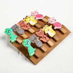 Набор декоративных прищепок «Разноцветные котики» 1×12×13 см