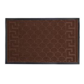 Коврик придверный влаговпитывающий «Рельеф», 45×69 см, цвет коричневый Ош