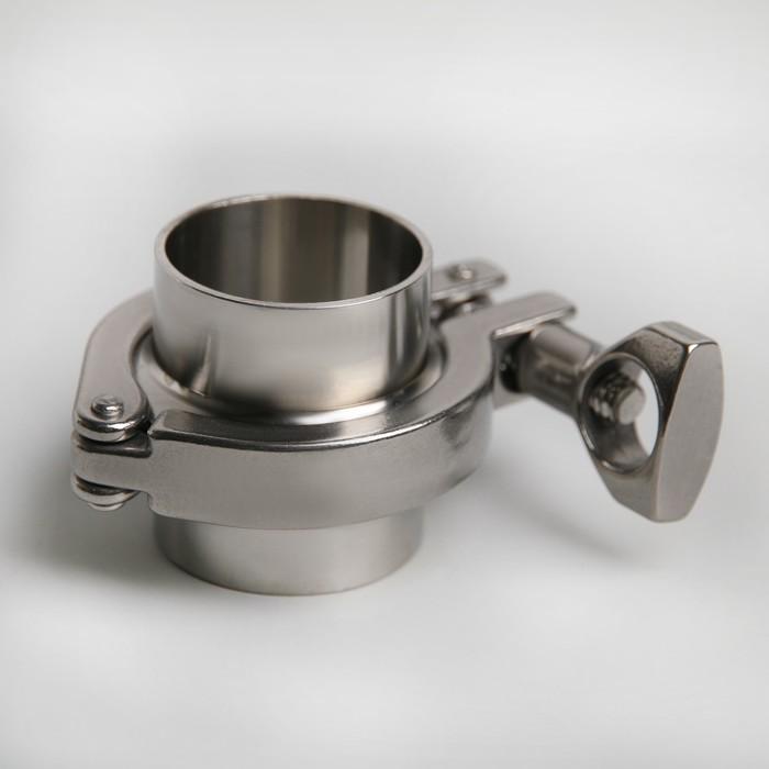 Кламп «Комплект», два фланца с клапанами, хомут литой, прокладка силикон, 1,5 Ф38