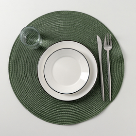 Салфетка кухонная «Лофт», d=38 см, цвет зелёный