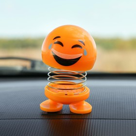 Смайл на пружинке, на панель в авто, смех, желтый в Донецке