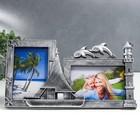 "Plastic photo frame for 2 photos 10x15cm ""Sailfish and dolphins"" dark silver 17,5х33,5 cm"