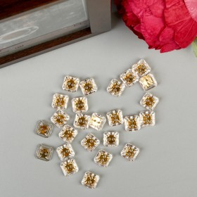 """Buttons plastic for creativity 2 puncture crystal """"Square gold"""" n-R 25 PCs 1,2x1,2 cm 444490"""