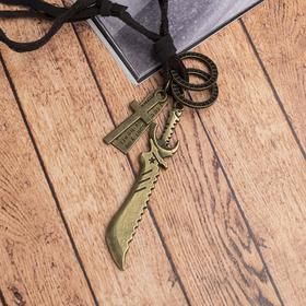 """Мужской кулон """"Резон"""" нож, цвет чернёное золото на коричневом шнурке, 80 см"""